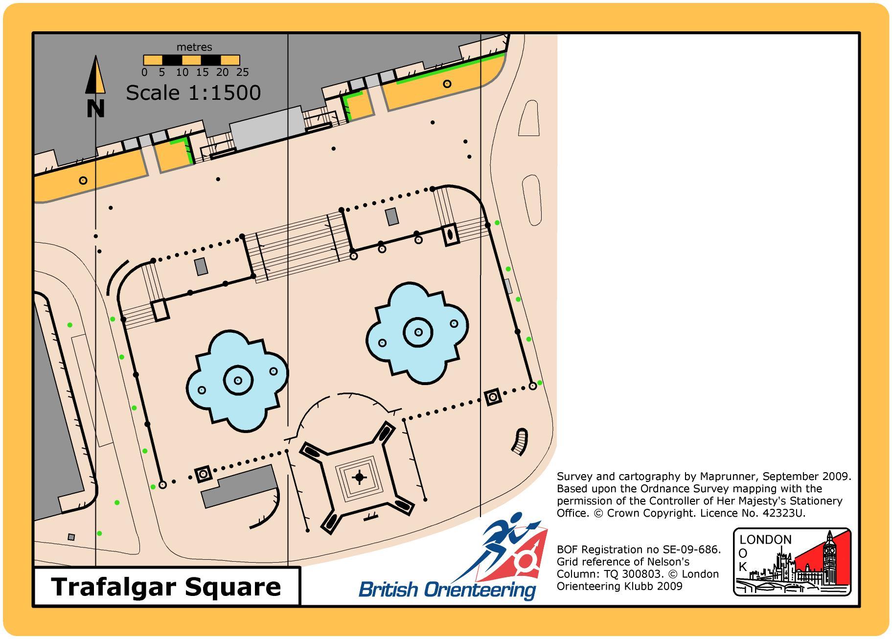 Trafalgar Square orienteering map